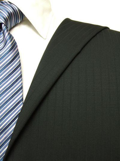 カノニコ ブラック系 シャドー ストライプ オーダースーツ 秋冬用素材 ウール100% ポリ0% 97847-13