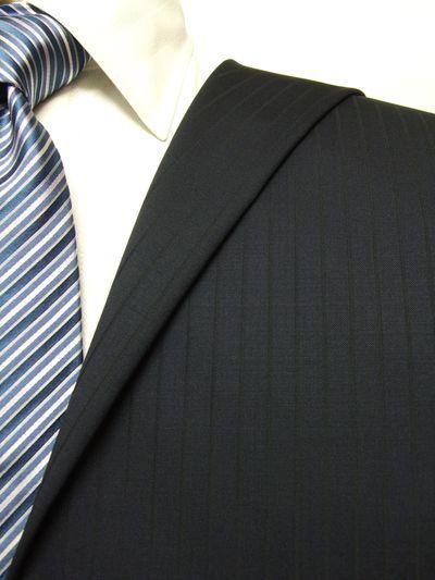 カノニコ ネイビー系 シャドー ストライプ オーダースーツ 秋冬用素材 ウール100% ポリ0% 97847-21