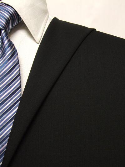 フラッグシップ ブラック系 無地 オーダースーツ 春夏用素材 ウール100% ポリ0% 02405-16