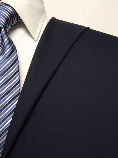 フラッグシップ ネイビー系 無地 オーダースーツ 春夏用素材 ウール100% ポリ0% 02405-32
