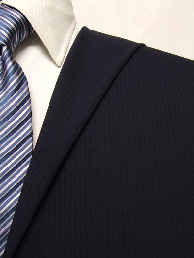 フラッグシップ ネイビー系 シャドー ストライプ オーダースーツ 春夏用素材 ウール100% ポリ0% 02406-30