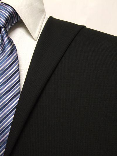 フラッグシップ ブラック系 織柄 オーダースーツ 春夏用素材 ウール100% ポリ0% 02407-10