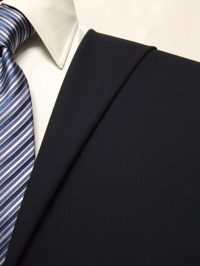 フラッグシップ ネイビー系 織柄 オーダースーツ 春夏用素材 ウール100% ポリ0% 02407-29