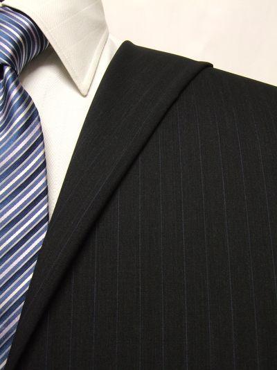 フラッグシップ グレー系 ストライプ オーダースーツ 春夏用素材 ウール100% ポリ0% 02409-40