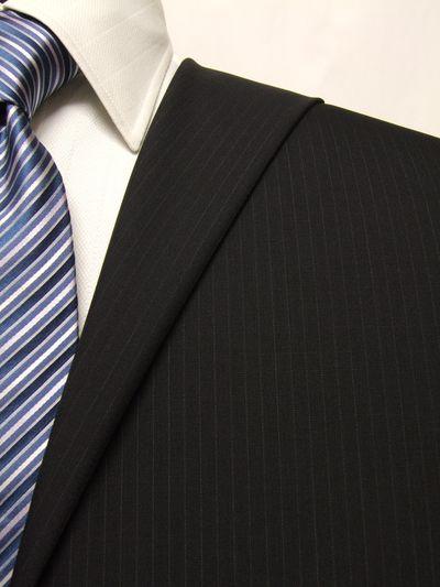 ファーストコレクション ネイビー系 ストライプ オーダースーツ 春夏用素材 ウール52% ポリ48% 02413-26