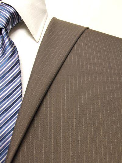 ファーストコレクション ブラウン系 ストライプ オーダースーツ 春夏用素材 ウール52% ポリ48% 02413-85