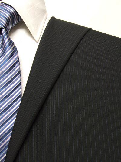 ファーストコレクション ネイビー系 ストライプ オーダースーツ 春夏用素材 ウール52% ポリ48% 02414-15