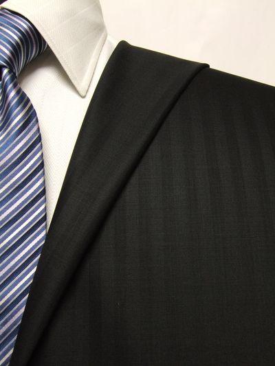 プレミアム ブラック系 シャドー ストライプ オーダースーツ 春夏用素材 ウール100% ポリ0% 02503-17