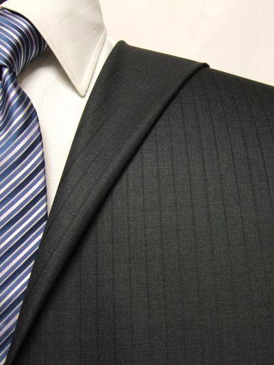 プレミアム グレー系 シャドー ストライプ オーダースーツ 春夏用素材 ウール100% ポリ0% 02504-49