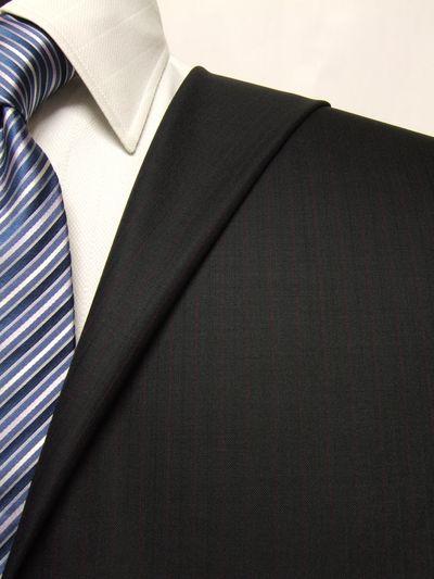 プレミアム ブラック系 ストライプ オーダースーツ 春夏用素材 ウール100% ポリ0% 02505-20
