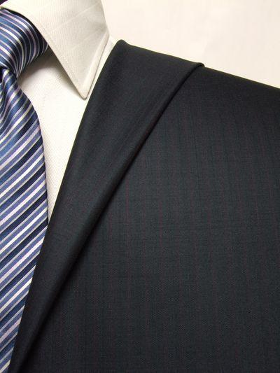 プレミアム ネイビー系 ストライプ オーダースーツ 春夏用素材 ウール100% ポリ0% 02505-38