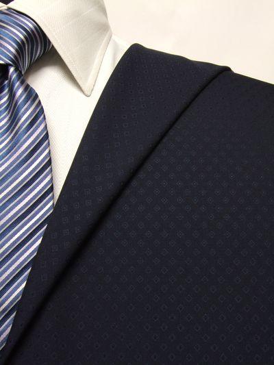 カノニコ ネイビー系 織柄 オーダースーツ 春夏用素材 ウール100% ポリ0% 02835-25