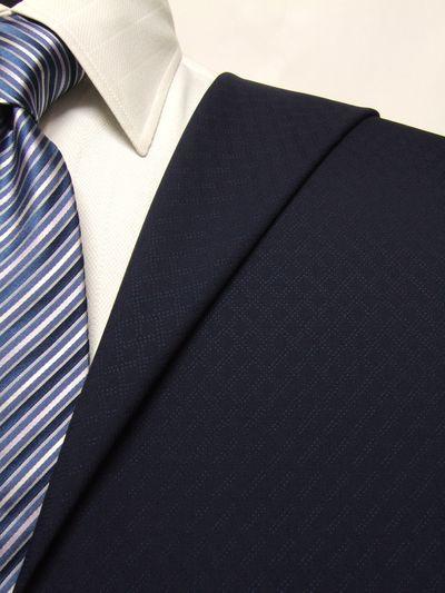 カノニコ ネイビー系 織柄 オーダースーツ 春夏用素材 ウール100% ポリ0% 02836-30