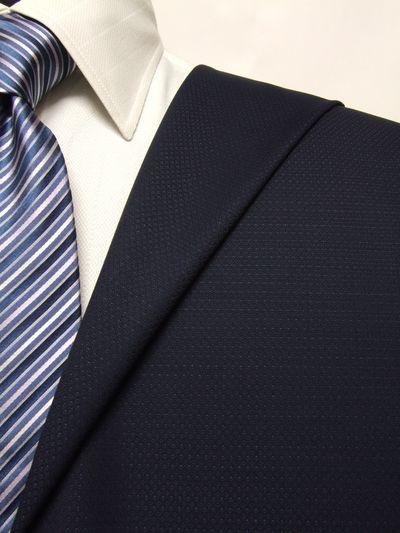 カノニコ ネイビー系 織柄 オーダースーツ 春夏用素材 ウール100% ポリ0% 02843-35