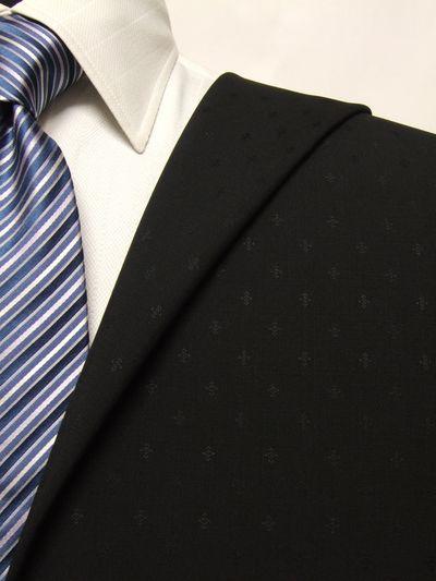 カノニコ ブラック系 織柄 オーダースーツ 春夏用素材 ウール84% キッドモヘア16% 02847-18