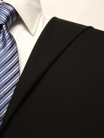 レダ ブラック系 無地 オーダースーツ 春夏用素材 ウール100% ポリ0% 02901-14