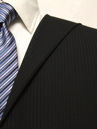 レダ ブラック系 シャドー ストライプ オーダースーツ 春夏用素材 ウール100% ポリ0% 02904-24