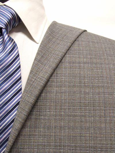 エグゼグティブ グレー系 チェック オーダースーツ 春夏用素材 ウール50% ポリ30% ナイロン20% 5bc027
