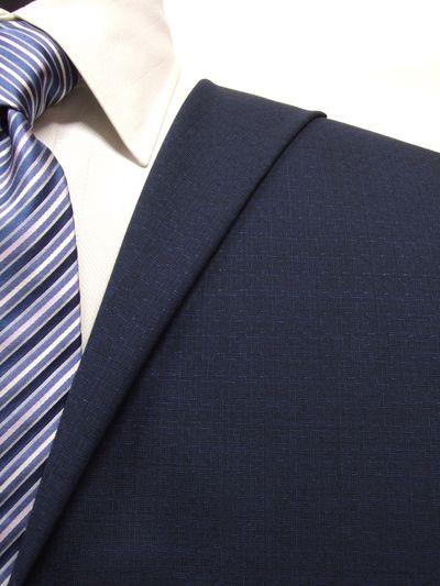 エグゼグティブ ネイビー系 織柄 オーダースーツ 春夏用素材 ウール50% ポリ30% ナイロン20% 5bc033