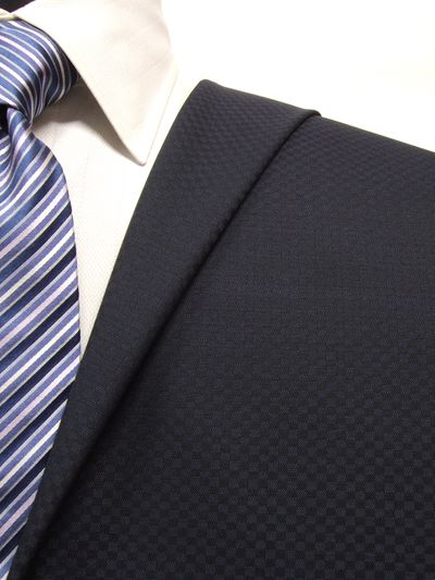 ハイクオリティ ネイビー系 織柄 オーダースーツ 春夏用素材 ウール50% ポリ50% 5bc037