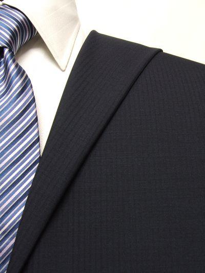 ファーストコレクション ネイビー系 シャドー ストライプ オーダースーツ 春夏用素材 ウール70% ポリ30% 95403-34