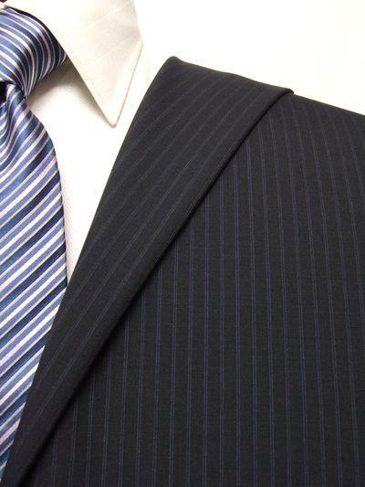 ファーストコレクション ネイビー系 ストライプ オーダースーツ 春夏用素材 ウール70% ポリ30% 95407-33