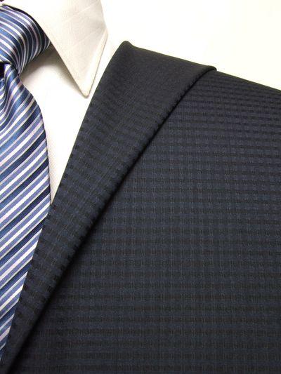 フラッグシップ ネイビー系 チェック オーダースーツ 春夏用素材 ウール100% ポリ0% 95437-32