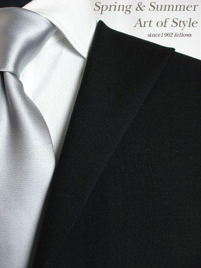 【ブラックスーツ】ブラック無地のオーダーフォーマルスーツ(春夏用 ウール83% モヘア17% 日本製)【】