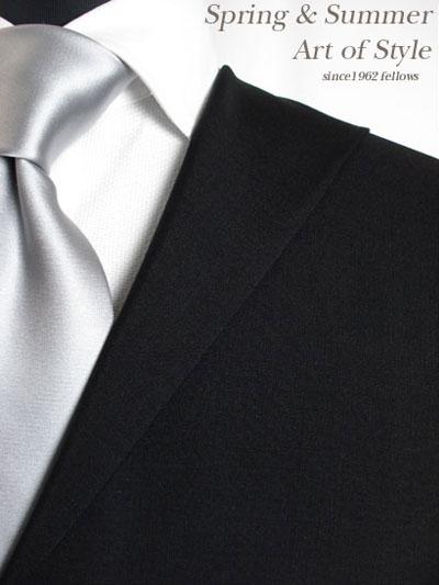 【ブラックスーツ】ブラック無地のオーダーフォーマルスーツ(春夏用 ウール70% モヘア30% 英国製)【【RCP】】