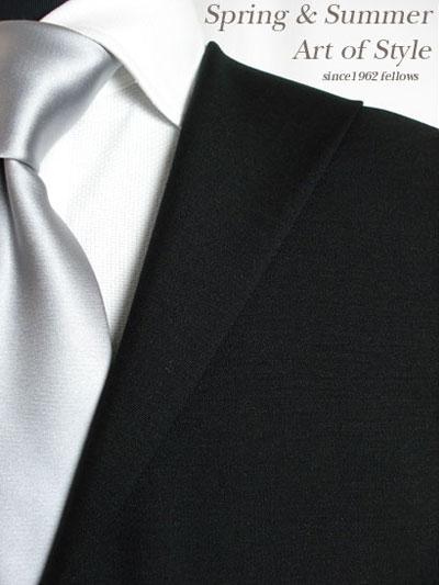 【ブラックスーツ】ブラック無地のオーダーフォーマルスーツ(春夏用 ウール50% モヘア50% 英国製)【】