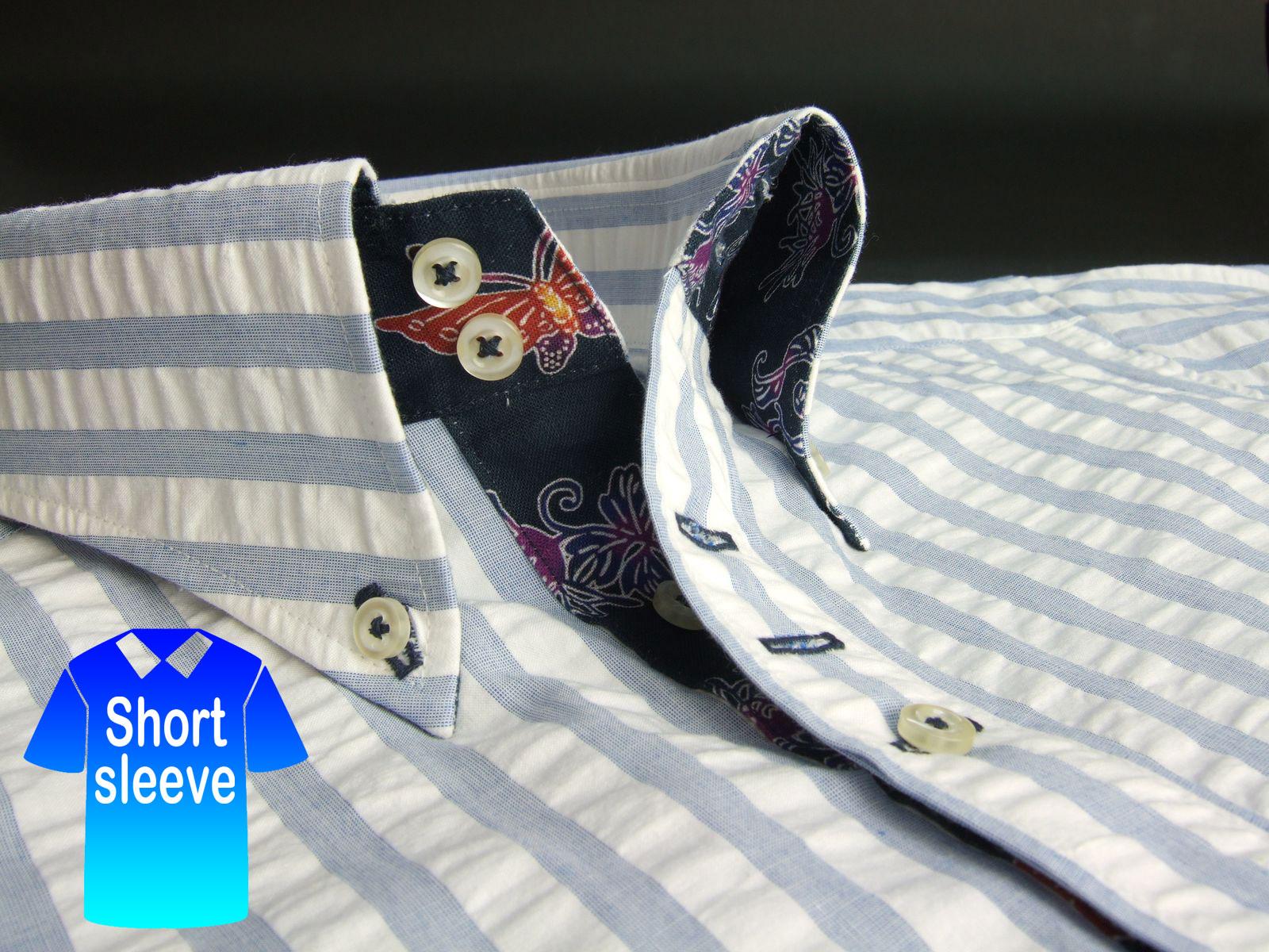 かりゆしウェア結婚式に アロハシャツ 沖縄 メンズ ボタンダウン 半袖 クールビズ Yシャツ ワイシャツ  【rcp】 おしゃれ 限定 紅型 白×青 ホワイト ストライプ シアサッカー ( msst-wt01-4817 )