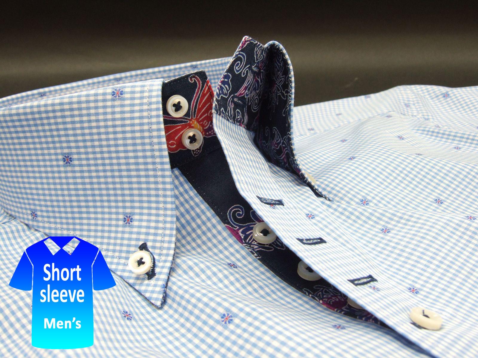 かりゆしウェア結婚式に アロハシャツ 沖縄 メンズ ボタンダウン 半袖 クールビズ Yシャツ ワイシャツ【rcp】おしゃれ 限定 紅型 青 ブルー系ギンガムチェック柄(msck-bu01-4820)