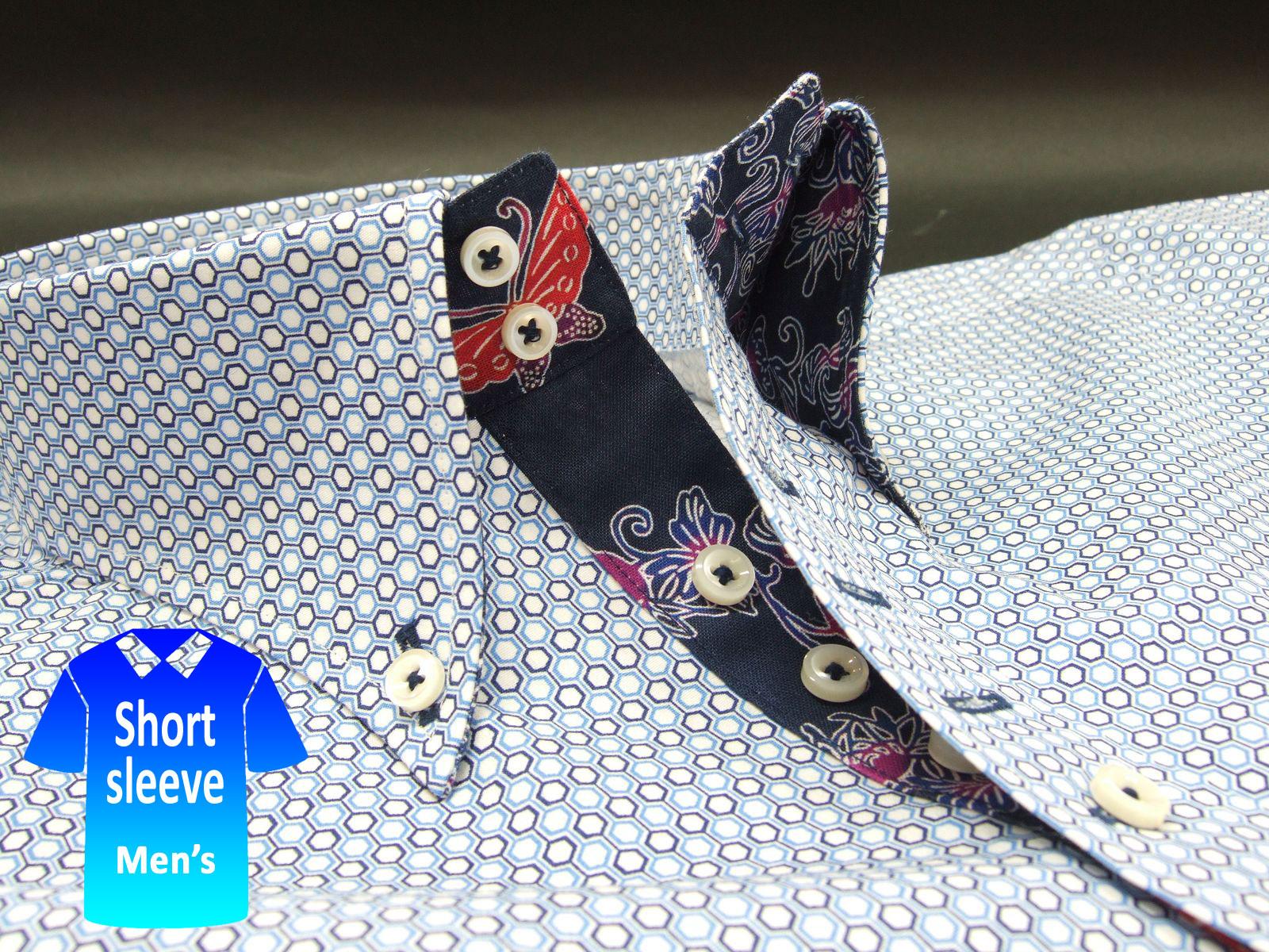 かりゆしウェア結婚式に アロハシャツ 沖縄 メンズ ボタンダウン 半袖 クールビズ Yシャツ ワイシャツ【rcp】おしゃれ 限定 紅型 青 ブルー系小紋柄(msko-bu02-4820)