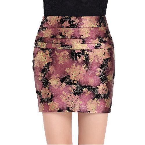ラムレザー スカート ペンシルスカート タイトスカート ボトムス レディース 女性用 婦人用 着やせ 花柄 エレガント ショート丈 フェミニン 上品 ハイウェスト ダークグリーン ローズレッド M-XXXXL