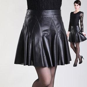 フレアスカート ラムレザースカート 本革 切替 ミニスカート レディース ボトムス ショート丈 裾切りっぱなし ブラック M-XXXL
