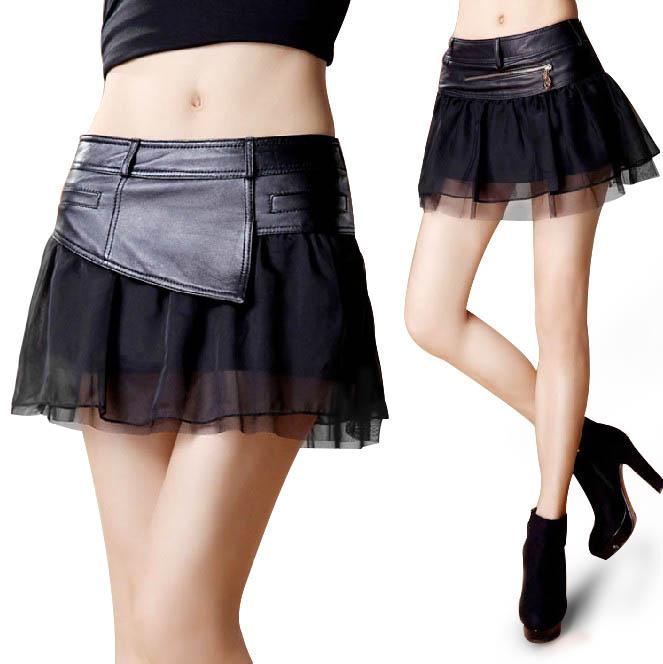 ラムレザースカート ミニスカート 本革 革スカート レディース ボトムス 切り替え チュール ふんわり 膝上 ショート丈