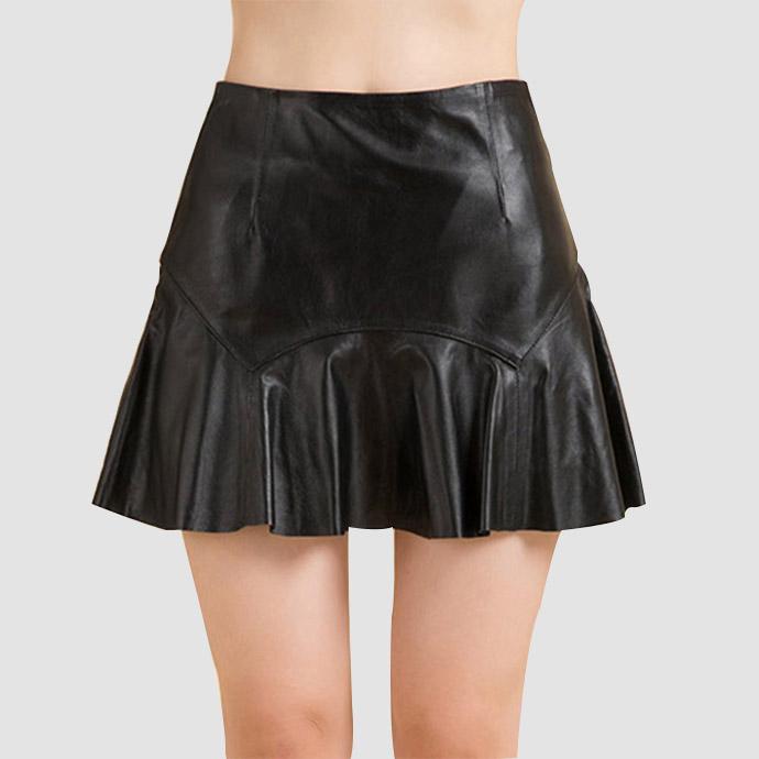 本革 ラムレザー スカート ミニスカート リアルレザー スカート ショート スカート フレアースカート レディース ボトムス 着痩せ 黒 M-XXXL