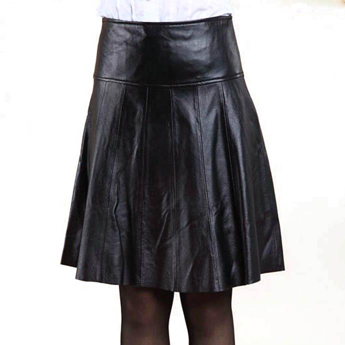 ラムレザースカート フレアスカート 皮スカート レディース ボトムス 春秋冬 膝丈 ミディアム丈 柔らか 本革 裾切りっぱなし ショート M L XL XXL XXXL ブラック