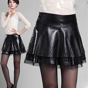 Aラインスカート 本革 ラムレザースカート ミニスカート フレアスカート レディース ボトムス 花柄 ショート丈 透かし彫り ブラック M L XL XXL XXXL