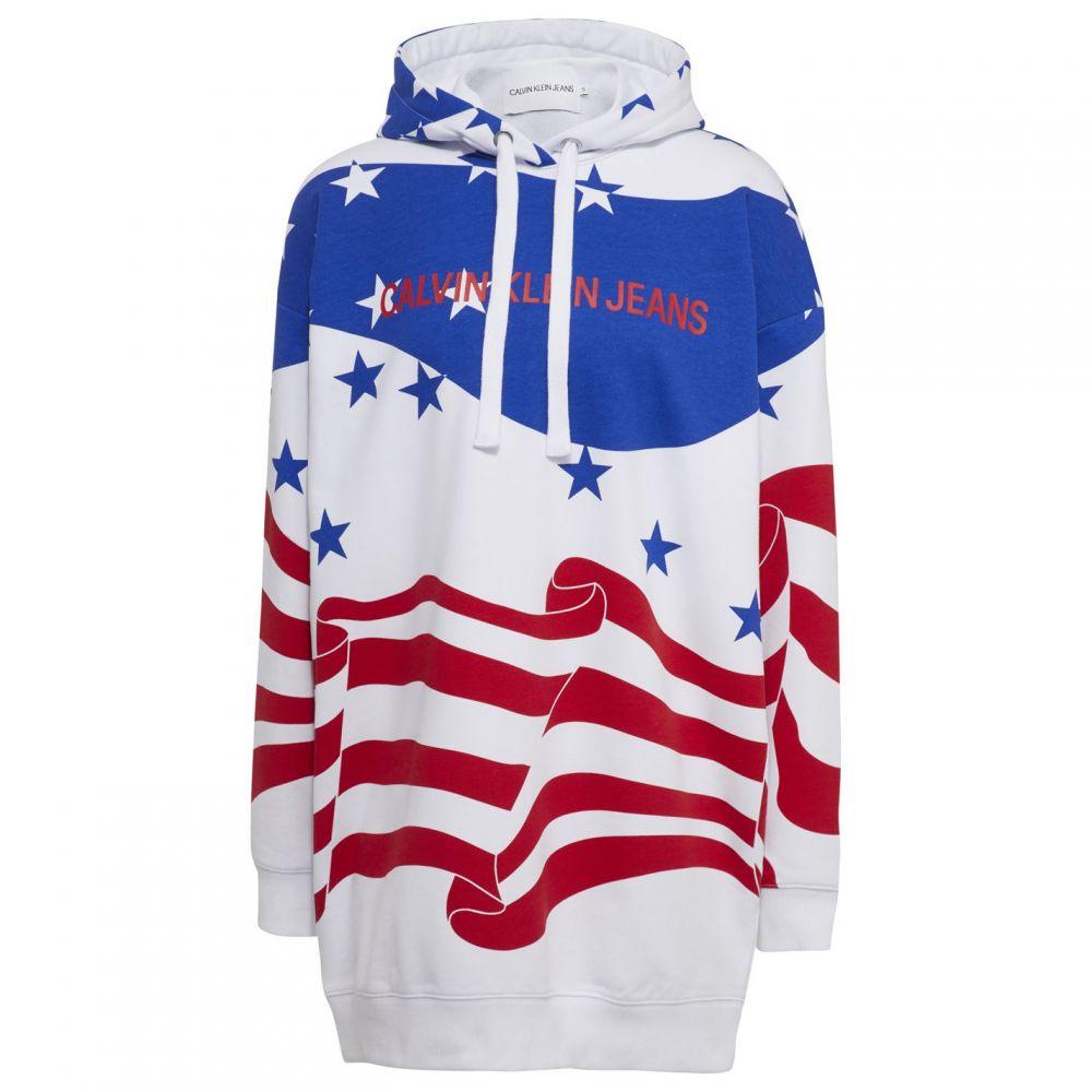 カルバンクライン Calvin Klein Jeans レディース パーカー トップス【Flag AOP Hoodie】AOP SurfWeb