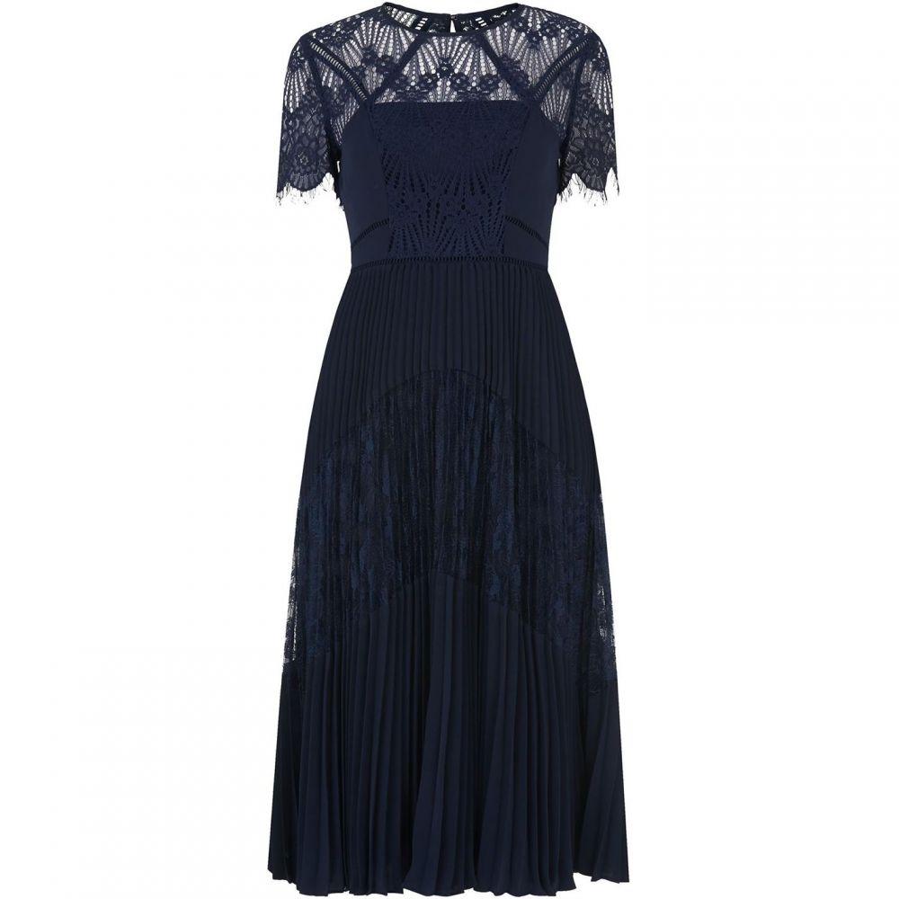 ホイッスルズ Whistles レディース ワンピース ワンピース・ドレス【Bianca Lace Pleated Dress】Navy