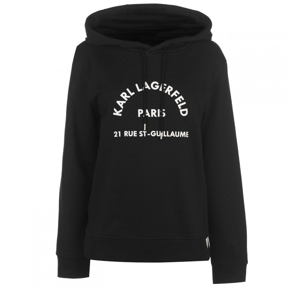 カール ラガーフェルド Karl Lagerfeld レディース パーカー トップス【Logo Address Hoody】Black