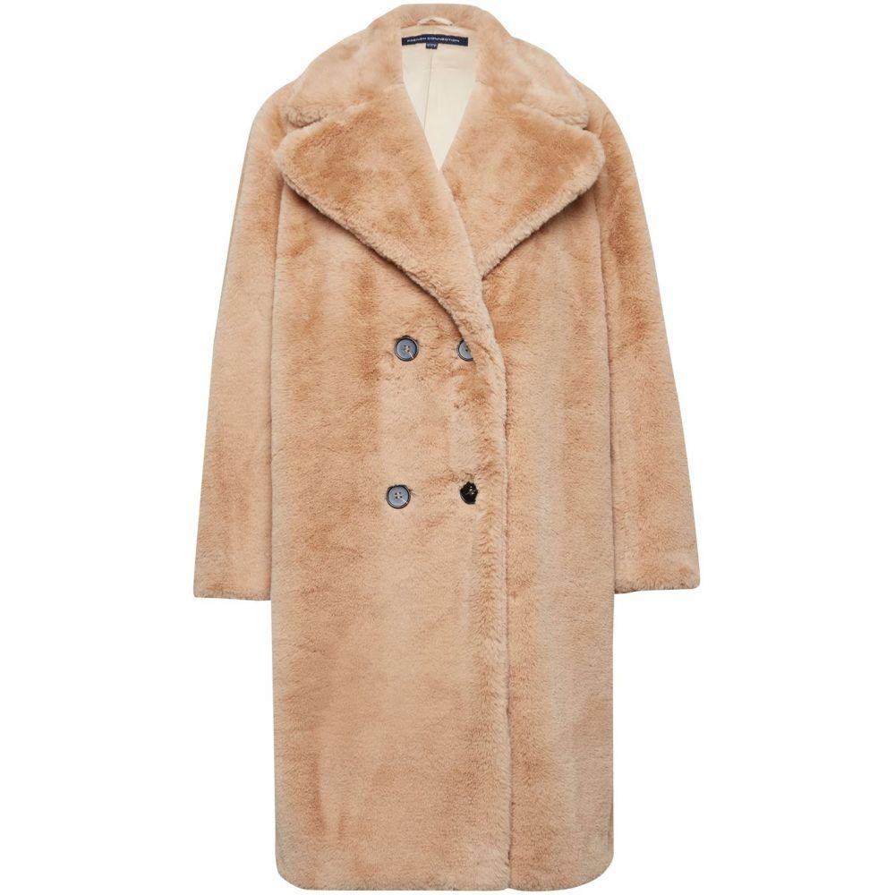 フレンチコネクション French Connection レディース コート シアリング アウター【Annie Faux Shearling Double Breasted Coat】Camel