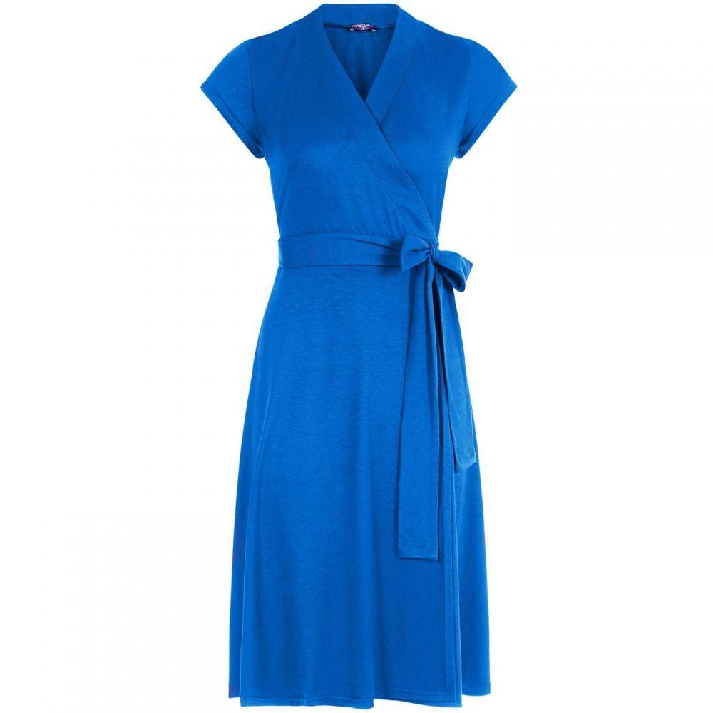 ホットスカッシュ レディース ワンピース・ドレス パーティードレス 【サイズ交換無料】 ホットスカッシュ HotSquash レディース パーティードレス ラップドレス ワンピース・ドレス【Cap Sleeve Wrap Dress in unique fabric】Cobalt