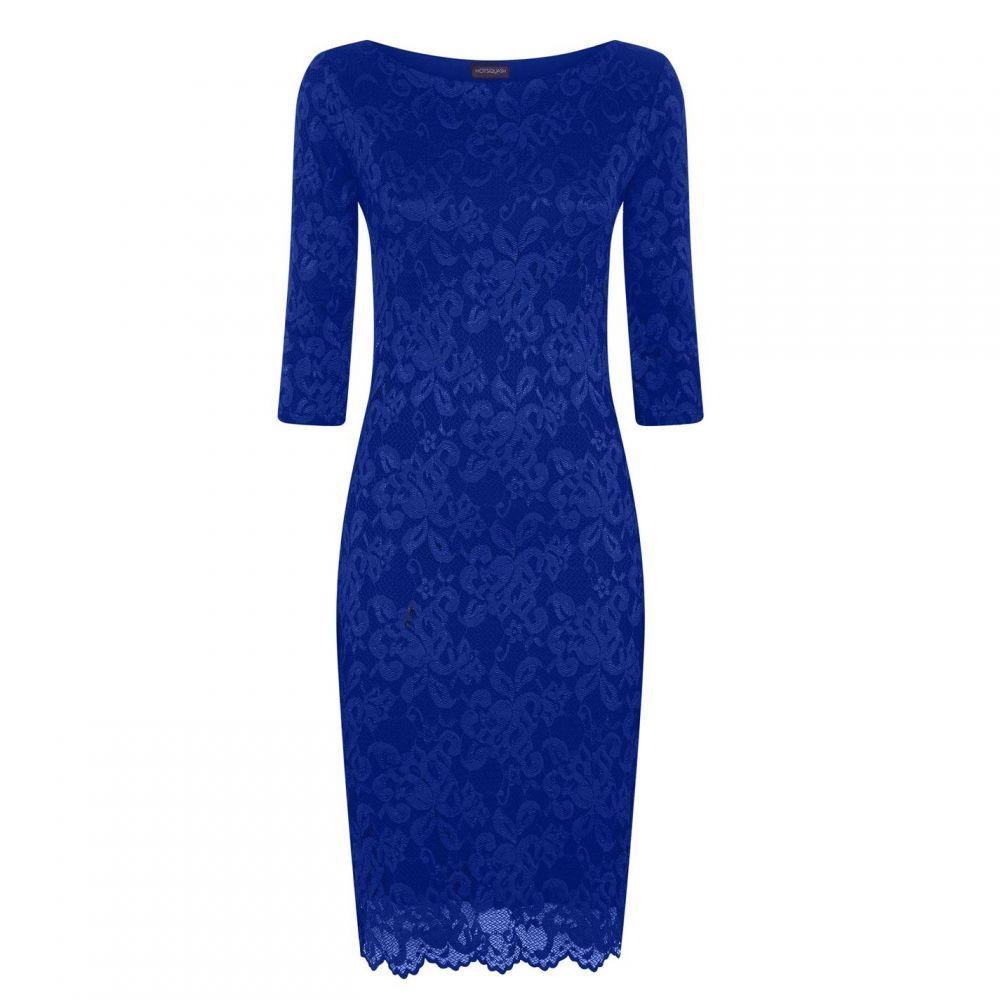 ホットスカッシュ HotSquash レディース パーティードレス ワンピース・ドレス【Long Sleeved Lace Dress With Thinheat】Midnight Blue