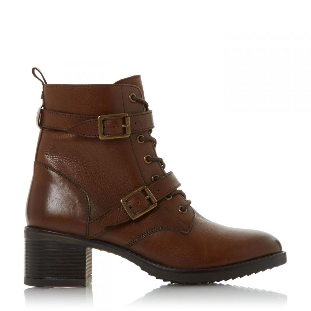 デューン Dune レディース ブーツ ショートブーツ シューズ・靴【Paxtone Buckle Detail Heeled Ankle Boots】Dark Tan