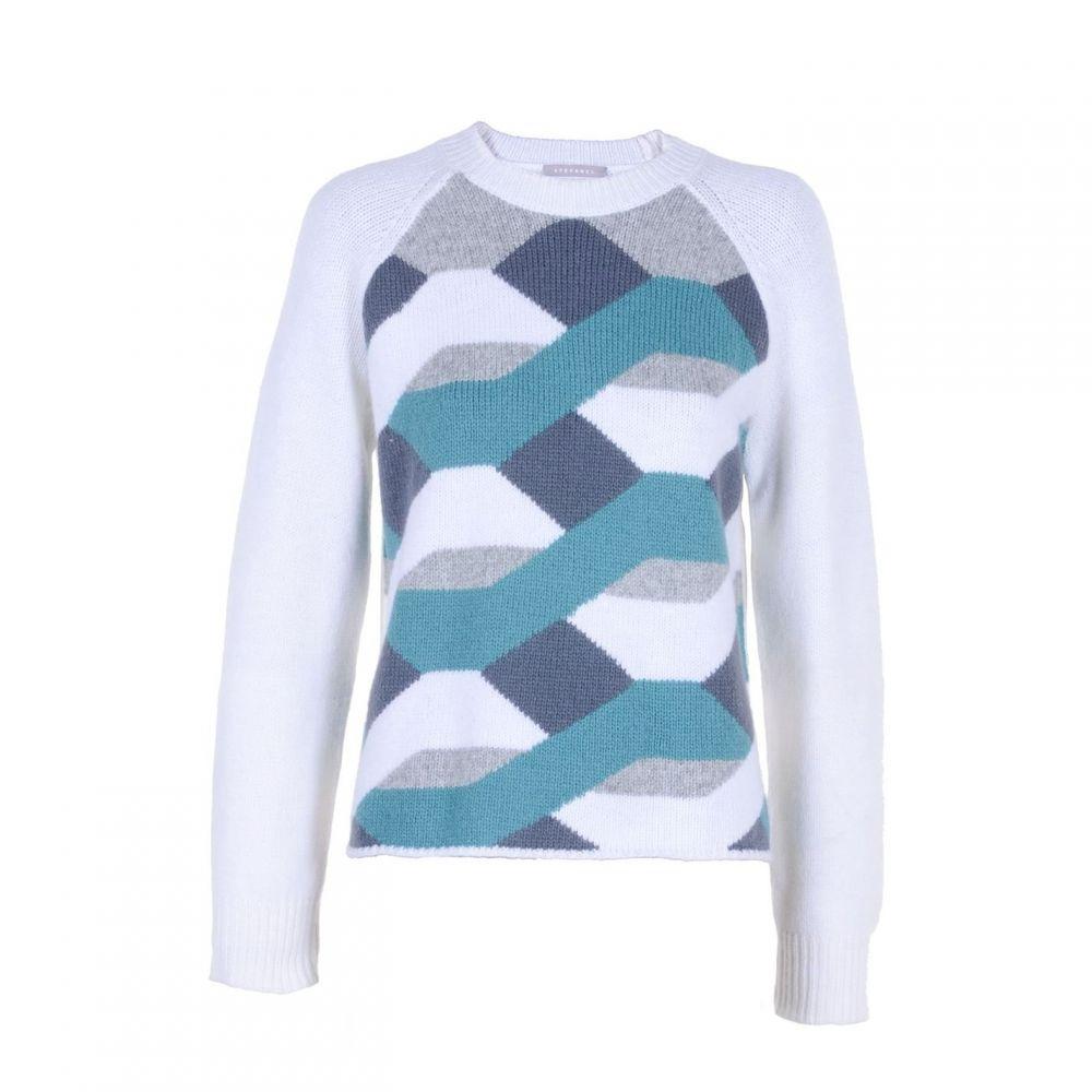 ステファネル Stefanel レディース ニット・セーター トップス【Inlay Pattern Wool Sweater】White