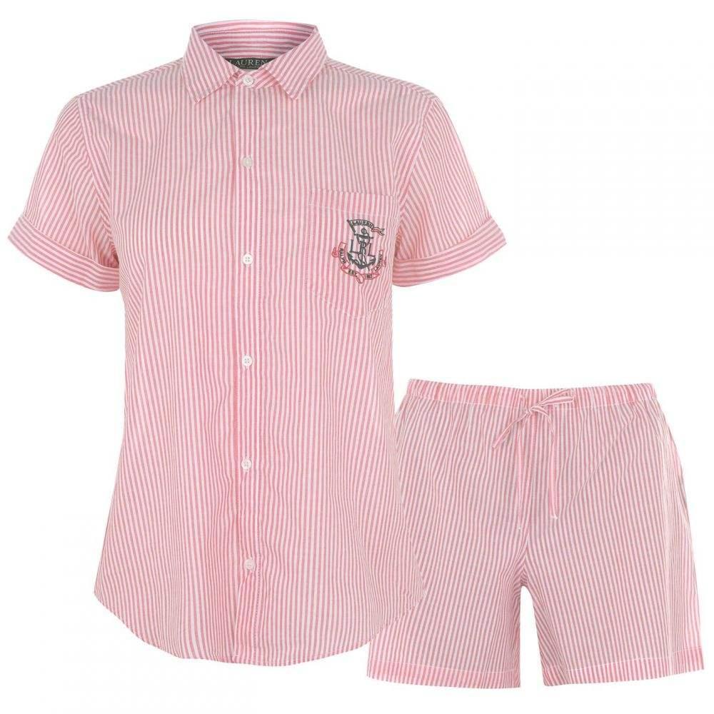 ラルフ ローレン Lauren Ralph Lauren Bodywear レディース パジャマ・上下セット シャツ インナー・下着【Camp Shirt Pyjama Set】RED STP