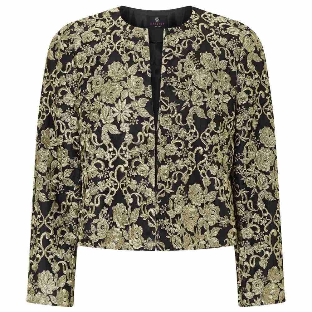 アリエラ ロンドン Ariella London レディース ジャケット アウター【Ariella Metallic Embroidered Jacket】BLACK GOLD