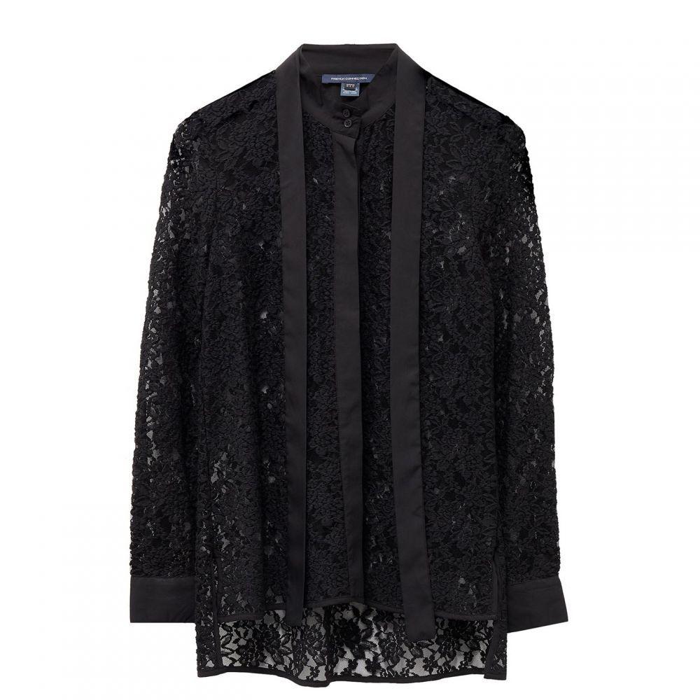 フレンチコネクション French Connection レディース ブラウス・シャツ トップス【Baen Floral Lace Tie Neck Blouse】Black